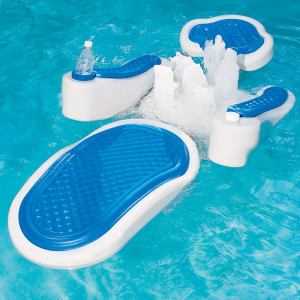 "The Hydro-Massage Pool Float. This floating pool lounger attaches to your pools filtration system to provide a soothing, spa-quality back massage without the need for a battery or AC power source. The 12' hose connects to the pools return line allowing the lounger to float freely around the pool, and it sends aerated water to six powerful and adjustable jets to massage the upper back, mid-section, and lower lumbar regions. The floating lounger is fully customizable to provide a comfortable, relaxed position, and it is made of durable, highly puncture-resistant polyethylene that withstands chlorine, sun, and oils for years of use. Includes adapters and swivels to fit common return line connections. 16"" H x 32 "" W x 64"" L. (34 lbs.)"